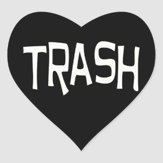 Trash print white heart sticker