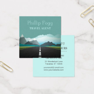 Travel Agency Agent Road Mountains Square Business Card
