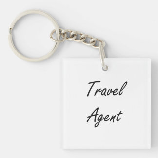 Travel Agent Artistic Job Design Single-Sided Square Acrylic Key Ring