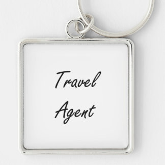 Travel Agent Artistic Job Design Silver-Colored Square Key Ring