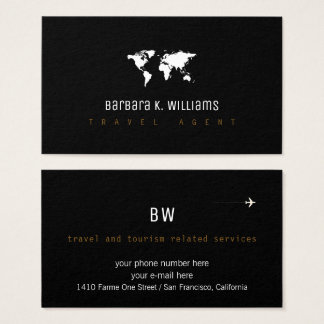 travel agent black business card with worldmap