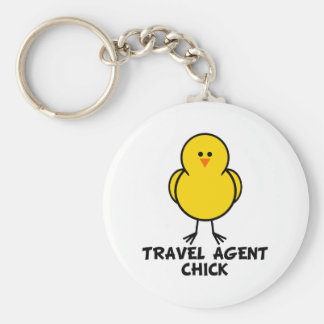 Travel Agent Chick Basic Round Button Key Ring