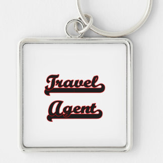 Travel Agent Classic Job Design Silver-Colored Square Key Ring