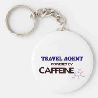 Travel Agent Powered by caffeine Basic Round Button Key Ring