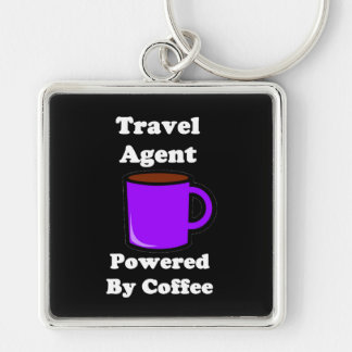 """""""Travel Agent"""" Powered by Coffee Silver-Colored Square Key Ring"""