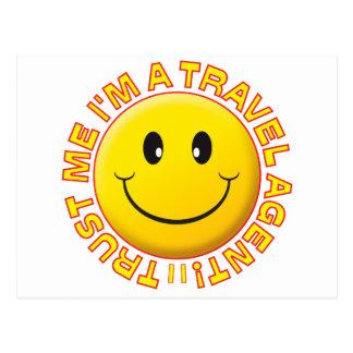 Travel Agent Trust Me Smiley Postcard