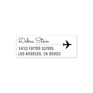 travel airplane & name, simple & clear self-inking stamp
