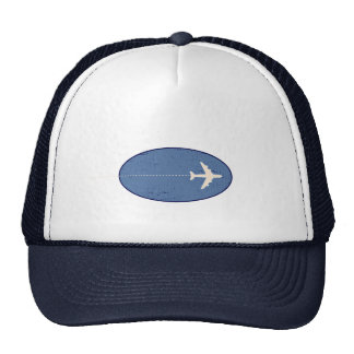 travel airplane with dotted line cap