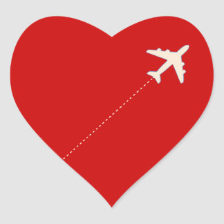 travel airplane with dotted line heart stickers