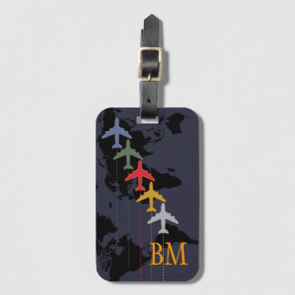 travel . airplanes . map luggage tag