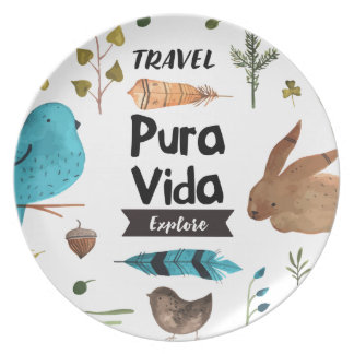 Travel and explore watercolour dinner plates