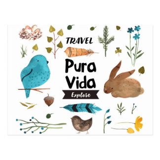 Travel and explore watercolour postcard