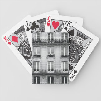 Travel | Black and White Vintage Building In Paris Bicycle Playing Cards