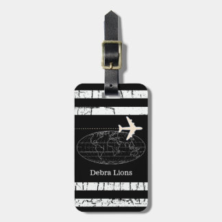 travel black personalized airplane tag for luggage