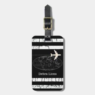 travel black personalized airplane luggage tag