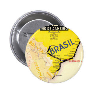 Travel Brasil Brazil By Airplane 6 Cm Round Badge
