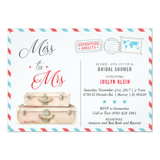 Travel Bridal Shower Invitation, Miss to Mrs Card