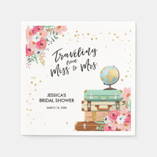 Travel Bridal shower Paper Napkin Miss to Mrs