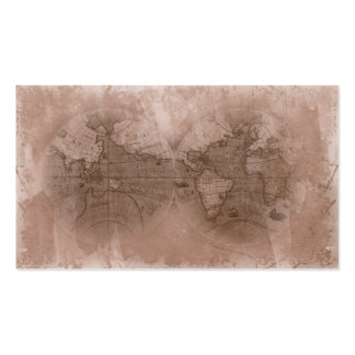 Travel Business Card Antique World Map Globe beige