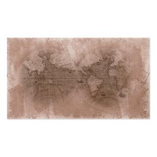 Travel Business Card Antique World Map Globe beige