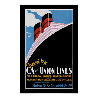 Travel by CA and Union Lines Poster