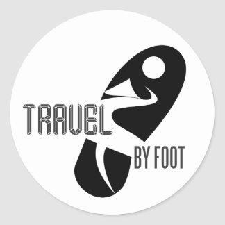 travel by foot classic round sticker