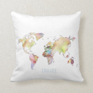 Travel Colorful World Map 16 x 16 Throw Pillow
