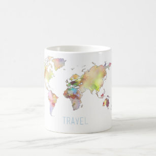 World map coffee travel mugs zazzle au travel colourful world map mug gumiabroncs
