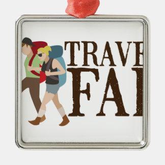 Travel Far Silver-Colored Square Decoration