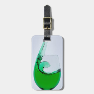 Travel Glass of Green Liquor Luggage Tag