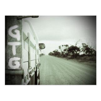 Travel GTG green and black landscape dirt road sky Postcard
