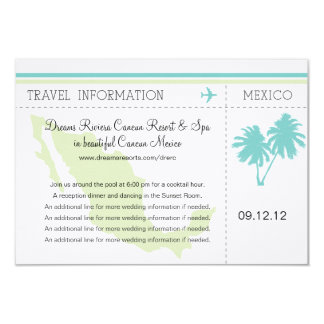 Travel Information Boarding Pass TO MEXICO 9 Cm X 13 Cm Invitation Card