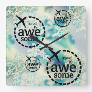 Travel is awesome with snowflakes texture design square wall clock