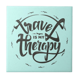 Travel Is My Therapy Ceramic Tile
