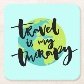 Travel is my Therapy Square Paper Coaster
