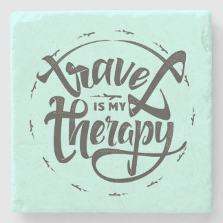 Travel Is My Therapy Stone Beverage Coaster