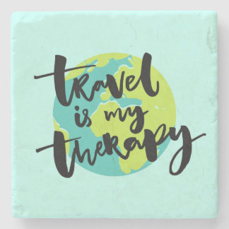 Travel is my Therapy Stone Coaster