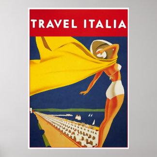 Travel Italia, Vintage Travel Poster
