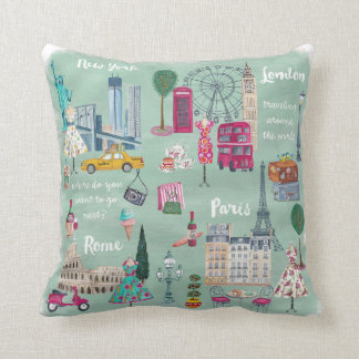 Travel London New+York Paris | Cotton Throw Pillow