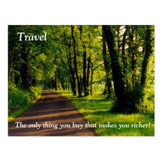 Travel makes you richer postcard