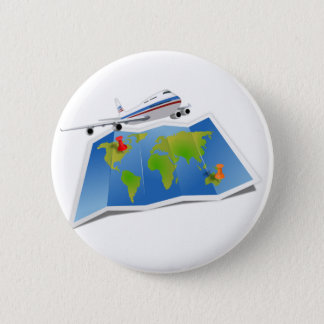 Travel Map 6 Cm Round Badge