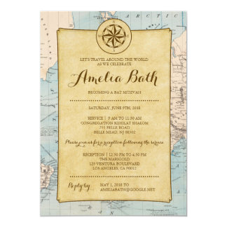 Travel Map Bat Mitzvah Invitation
