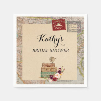 Travel Map from miss to mrs Bridal Shower Napkins Paper Napkins