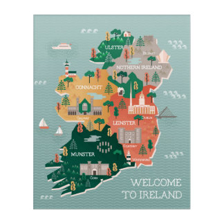 Travel Map of Ireland | Landmarks & Cities Acrylic Wall Art