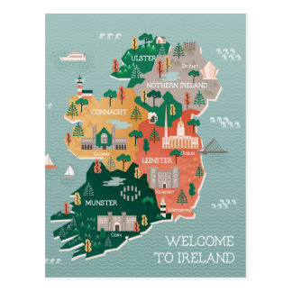 Travel Map of Ireland | Landmarks & Cities Postcard