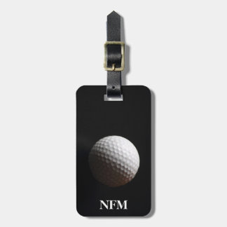 Travel Monogram Sports White Golf Ball on Black Luggage Tag