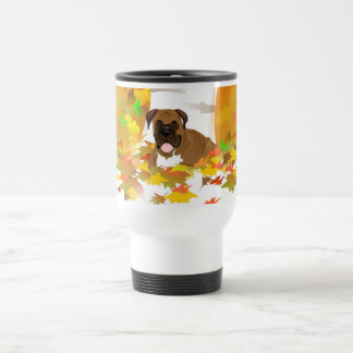 Travel Mug Boxer Dog Autumn Leaves