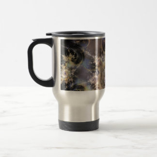 "Travel Mug, ""Petrol Refraction"" Fractal Art"