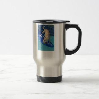 Travel Mug Surfing Dog