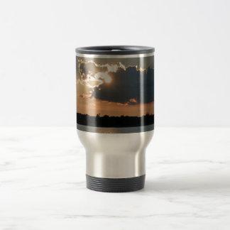 travel mug with photo of silver-lining sunset